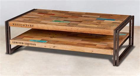 canapé angouleme meuble industriel bois recyclé table basse 2 plateaux