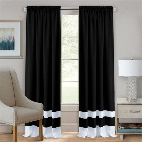 Black And Curtain Panels by Achim Sheer Jars 24 In L Polyester Window Curtain
