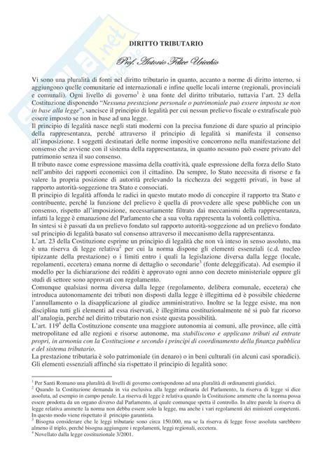 Dispense Diritto Lavoro by Fonti Diritto Tributario