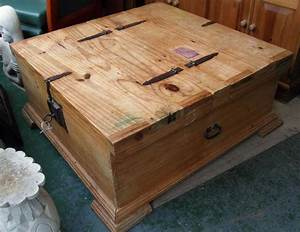 Chunky mexican pine coffee table with lockable trunk style for Mexican style coffee table