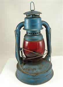vintage dietz lantern railroad lantern kerosene blue red lens little wizard lanterns shelves