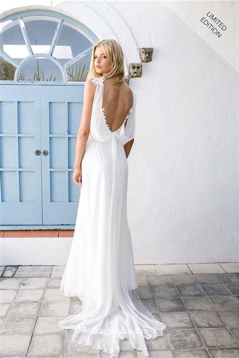 backless wedding dress lace spaghetti straps sheath backless chiffon lace wedding