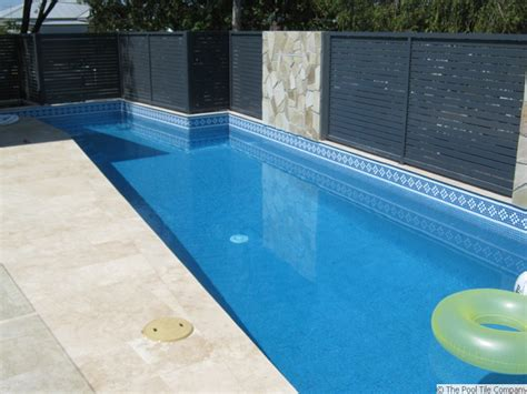 glass pool waterline tile lake como mid blue glass mosaic patterned waterline tiles