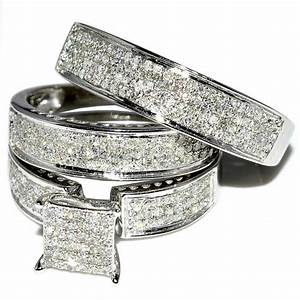 his and her trio wedding rings set 1ct w diamonds 10k With wedding rings sets for his and her