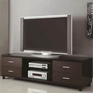 """Coaster 71"""" 4 Drawer Two Tone TV Stand in Black - 700826"""