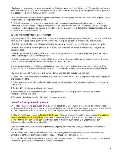 Resume 7 Habits by Resumen 7 Habitos De La Gente Altamente Efectiva