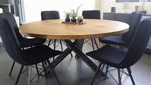 Table Pied Croisé : table ronde plateau en ch ne brut pieds crois en acier ~ Teatrodelosmanantiales.com Idées de Décoration