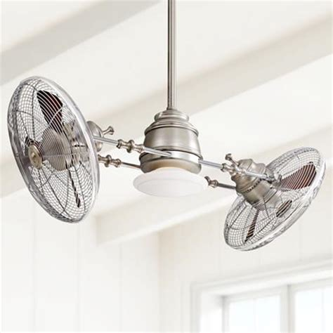 Gyro Ceiling Fans With Lights by Minka Aire Vintage Gyro Brushed Nickel Chrome Ceiling Fan