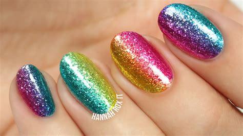 Rock The Rainbow Glitter Nail Art