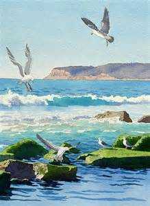 Seagulls Watercolor Painting Ocean Rocks