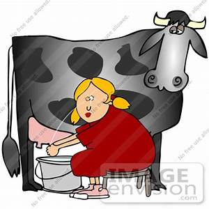 Clip Art Graphic of a Cow's Udder Squirting A Lady In The ...