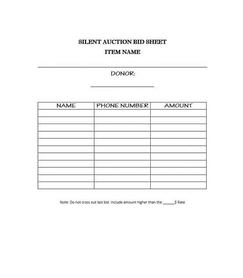 silent auction bid sheets   templates study