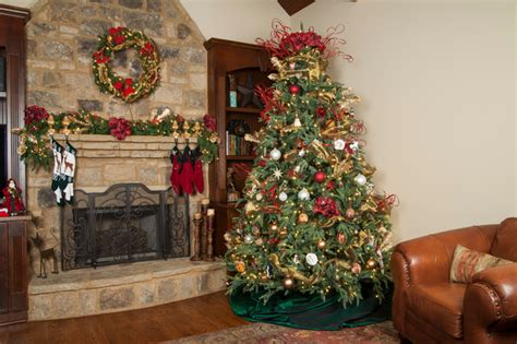 christmas tree in the living room rustic christmas tree traditional living room atlanta by christmas lights etc