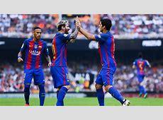 Barcelona Lionel Messi Neymar Suarez 25102016 Goalcom