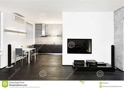 salon et cuisine moderne intérieur moderne de cuisine et de salon photo libre de