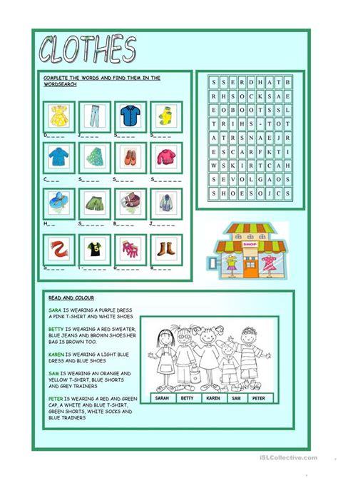 clothes worksheet  esl printable worksheets