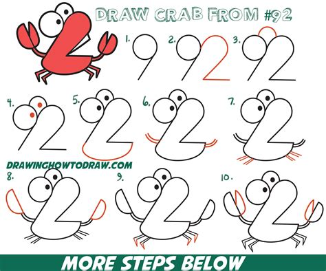 draw cartoon crab  numbers  easy step