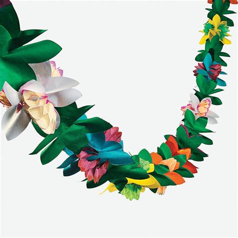 tropical decorations 1 luau tiki hawaiian tropical party decorations flower tissue garland 9ft ebay