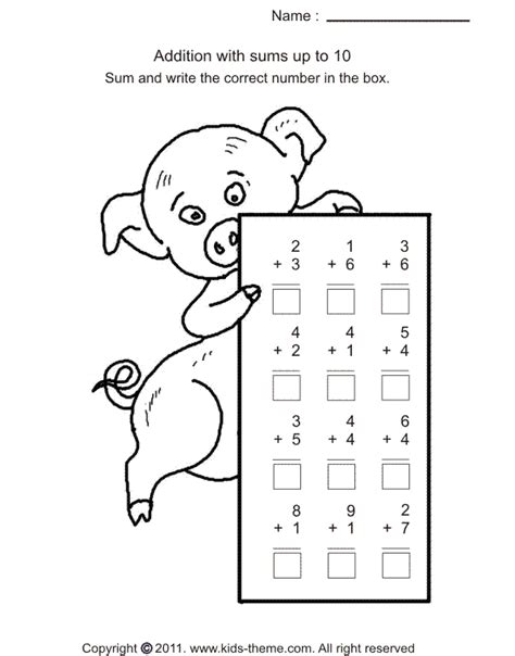 addition worksheets within 10 worksheets for all