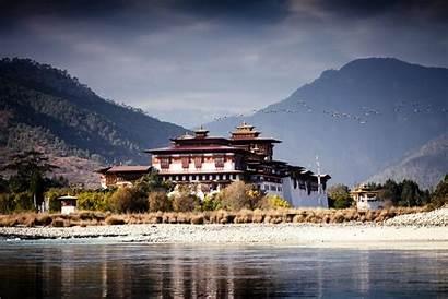 Bhutan Punakha Dzong Kingdom Travel Yellow Clouds