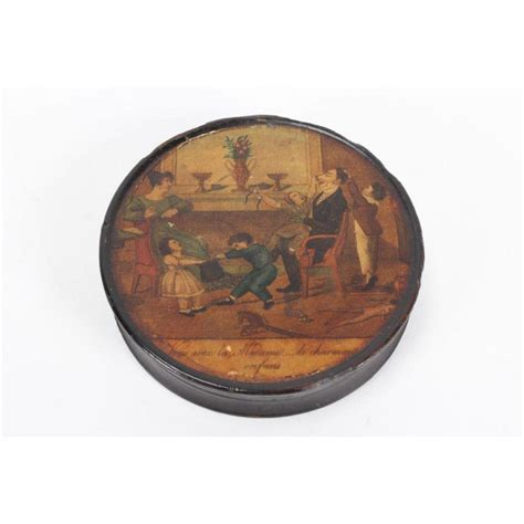 century french paper mache box  cover  circular