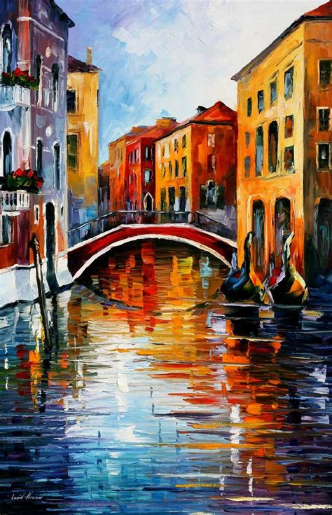 canal in venice palette knife painting on canvas by leonid afremov size 24 quot x36 quot