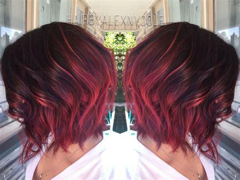 Ruby Red Ombre On Short Hair H U U R F A C E And B O D Y
