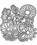Doodle Coloring Sunflowers Pages Printable Sunflower Abstract Adult Flowers Categories A4 sketch template