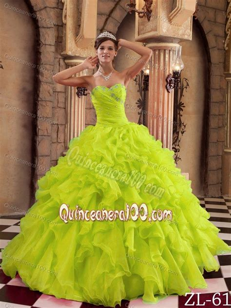 Your quince dress is in stock and ready to ship today! Yellow Green Sweetheart Beaded Quince Dresses with Ruffles ...