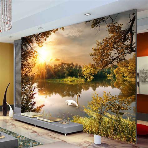 trees swan lake photo wallpaper sunshine wallpaper custom