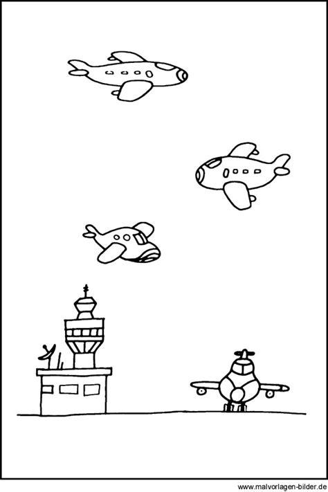 malvorlagen flughafen mit vielen flugzeugen