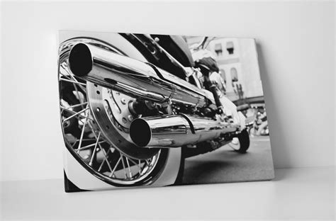Motorcycle Chrome Pipes Pop Art Gallery Wrapped Canvas 20