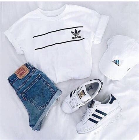 ADIDAS outfit Denim shorts + white tee + sneakers (all white outfit) Pinterest CaitCabrera ...