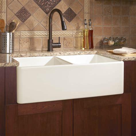 double basin farmhouse sink 33 quot angove double bowl cast iron farmhouse sink kitchen