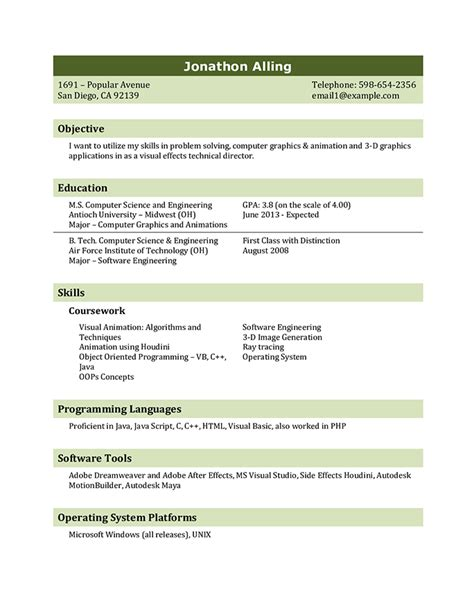 student resume templates   results hloom