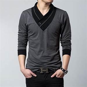 2017 Envmenst Brand Design Fashion irregular collar button menu0026#39;s t shirt slim fit big size ...