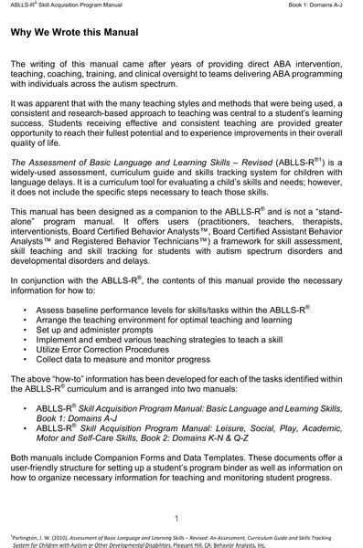 ablls  skill acquisition program manual set