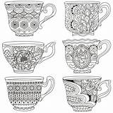 Coloring Tea Cups Stacked Printable Adult Zentangle Cup Teacup Teacups Bear Colouring Coffee Adults Saucer Template Doodle Sheets Drawing Voor sketch template