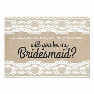 rustic lace will you be my bridesmaid invitation zazzle With will you be my bridesmaid wine label template