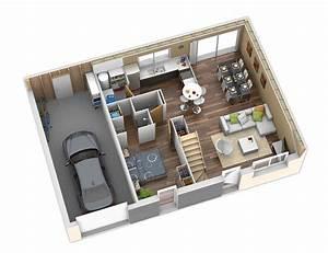 Plan Interieur Maison : plan maison ossature bois nativio ardoise natilia ~ Melissatoandfro.com Idées de Décoration