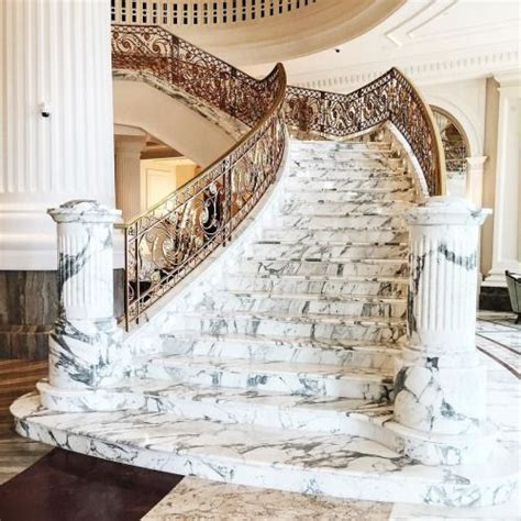 marble staircase  gold banister luxury homes dream