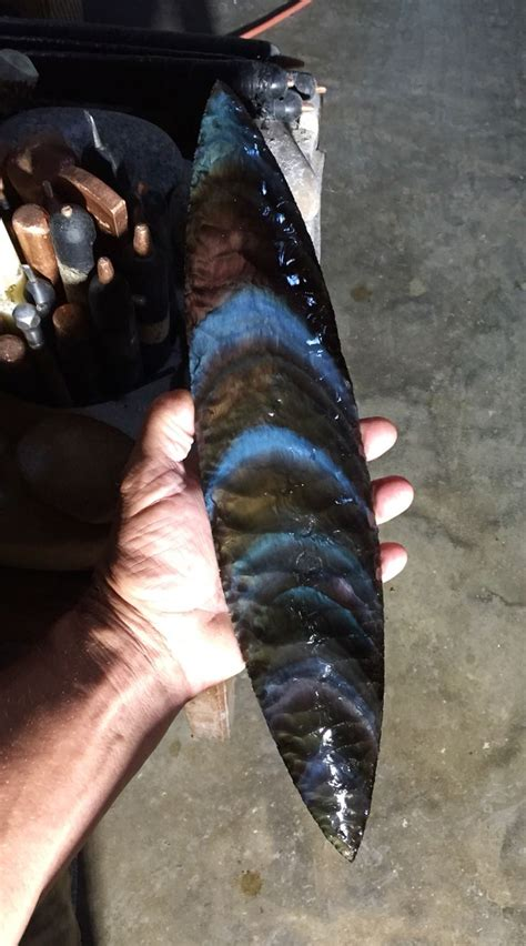 Obsidian Kitchen Knives Age Reproductions 14 3 4 Quot Rainbow Obsidian Blade Rainbow Obsidian