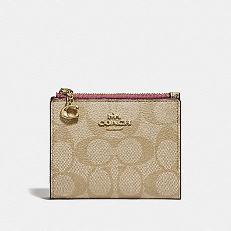 Coach signature strawberry print snap card case small wallet in khaki multitop rated seller. COACH F78002 - SNAP CARD CASE IN SIGNATURE CANVAS - LIGHT KHAKI/ROUGE/GOLD   COACH ACCESSORIES