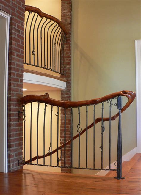 Rustic Basement Bar by Custom Railing Staircase Louisville By Maynard Studios