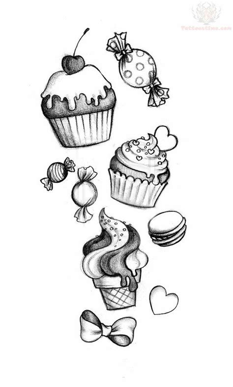 Candies #Illustration | Candy tattoo, Cupcake tattoos, Tattoo drawings