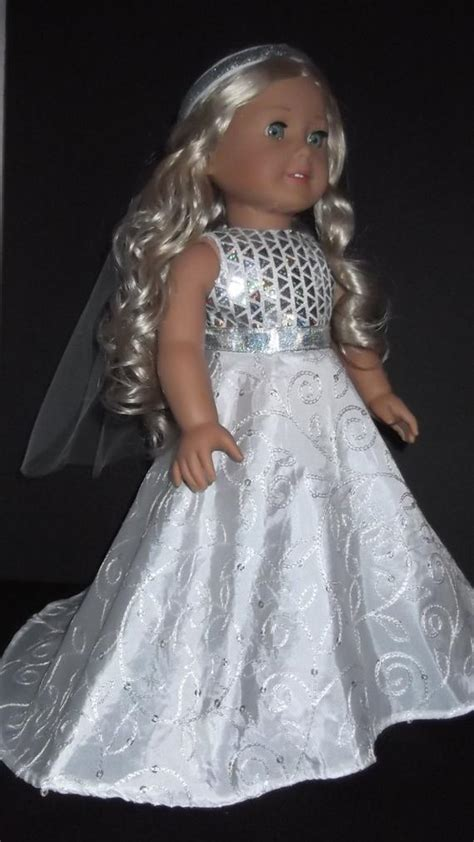 american girl doll clothes wedding gown  veil