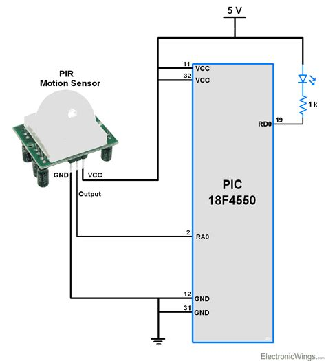 pir motion sensor interface with pic18f4550 electronicwings