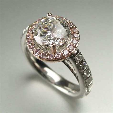 ring redesign before and after pink diamond halo engagement ring by s spexton custom jewelry