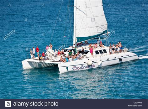 Catamaran Boat Bahamas by Cruise Ship Passengers On Catamaran Excursion Tour In