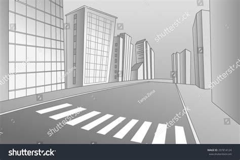Vector Illustration Street Pedestrian Crossing City Stock